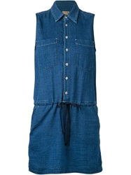 Mother Drawstring Denim Shirt Dress Blue