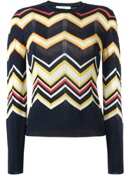 Vanessa Bruno Athe Chevron Knit Jumper Blue