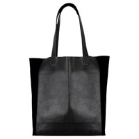 Warehouse Leather Panel Shopper Bag Black