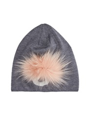 Fendi Fur Detail Wool Knit Beanie Hat