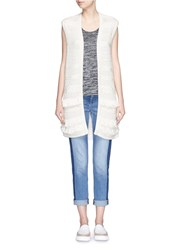 Vince Fringed Cable Knit Vest Cardigan White