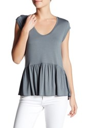 14Th And Union Solid Peplum Tee Gray
