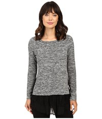 Karen Kane Lace Inset Sweater Light Heather Grey Women's Long Sleeve Pullover Silver