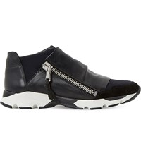 Dune Edge Panelled Leather And Neoprene Trainers Black Leather
