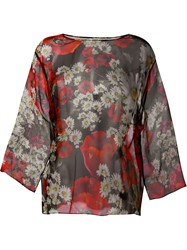 Dolce And Gabbana Daisy And Poppy Print Blouse Black