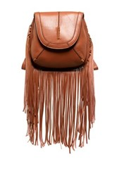 Isabella Fiore Jackson Leather Fringe Crossbody Brown