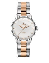Rado Coupole Classic Wesselton Diamonds Stainless Steel And Rose Goldtone Ceramos Automatic Watch Two Tone
