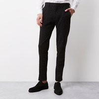 Vito River Island Mens Black Textured Tux Trousers
