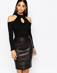 River Island Off The Shoulder Key Hole Turtle Neck Black