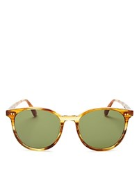 Toms Bellini Round Sunglasses 52Mm Amber Ale Bottle Green Sold Lens