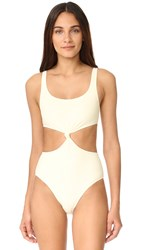 Solid And Striped The Bella Knot Front One Piece Cream