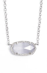 Women's Kendra Scott 'Elisa' Pendant Necklace Rhodium Slate Cats Eye