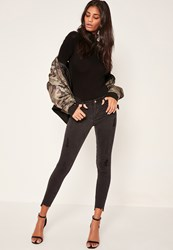 Missguided Black Anarchy Stepped Hem Skinny Jeans