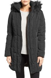 Calvin Klein Women's Long Down And Feather Fill Coat With Removable Faux Fur Trim Hood