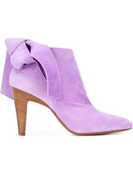 Roberto Cavalli Bow Ankle Boots Pink And Purple