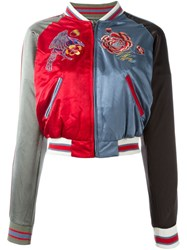Diesel Embroidered Rose Bomber Jacket Multicolour