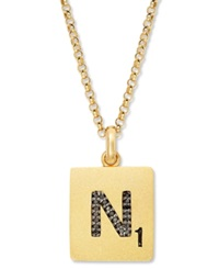 Scrabble 14K Gold Over Sterling Silver Black Diamond Accent 'N' Initial Pendant Necklace