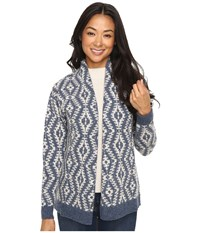 Pendleton Petite Carlton Cardigan Denim Natural Women's Sweater Blue