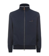 La Martina Full Zip Turtleneck Fleeceback Sweater Male Navy