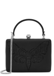 Alexander Mcqueen Black Leather Embroidered Box Bag