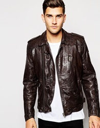 Pepe Jeans Arcade Leather Jacket Brown