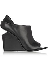 Alexander Wang Alla Leather Wedge Ankle Boots Black