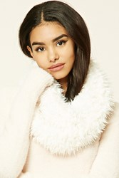 Forever 21 Faux Fur Infinity Scarf Cream