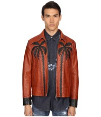Dsquared Palms Patch Leather Bomber Brick