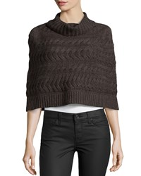 Lafayette 148 New York Cable Knit Poncho Coffee