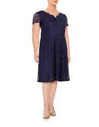 London Times Plus Lace Overlay Short Sleeved Dress