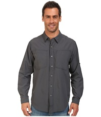 Exofficio Geotrek'r L S Top Dark Pebble Men's Long Sleeve Button Up Brown
