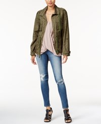 Bar Iii Leopard Print Anorak Field Jacket Only At Macy's True Olive Combo