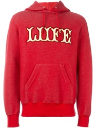 Sacai Liife Applique Hoodie Red