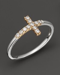 Bloomingdale's Diamond And 14K White And Yellow Gold Cross Ring .15 Ct. T.W. No Color