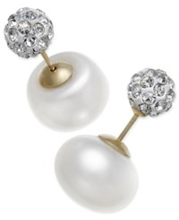 Macy's Cultured Freshwater Pearl 11Mm And Cubic Zirconia Reversible Front And Back Earrings In 14K Gold White