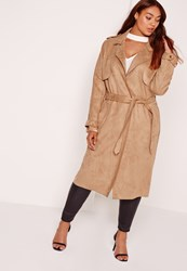 Missguided Plus Size Raw Seam Faux Suede Trench Coat Camel Beige