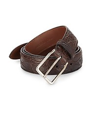 Brunello Cucinelli Croc Embossed Leather Belt Dark Brown