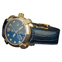 U Ni Ty Unity Limited Edition Beagle Bronze Blue Dial Watch Gold