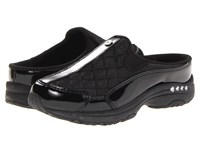 Easy Spirit Traveltime Black Patent Leather Silver Women's Clog Shoes