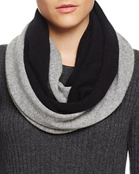 Bloomingdale's C By Cashmere Angelina Two Tone Loop Scarf Black Gray