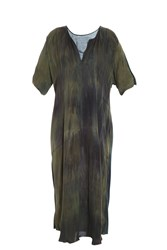 Raquel Allegra Silk Tie Dye Dress Green