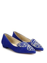 Sophia Webster Bibi Butterfly Embroidered Suede Flats Electric Blue