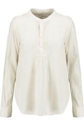 Current Elliott The Pintuck Cotton Blouse Off White