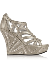 Camilla Skovgaard Metallic Studded Leather Wedge Sandals