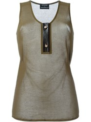 Anthony Vaccarello Leather Placket Tank Top Green