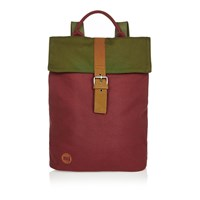 River Island Mens Dark Red Mi Pac Tonal Canvas Backpack
