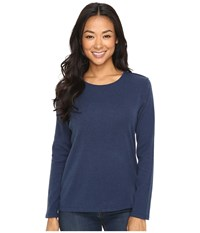 Pendleton Petite L S Jewel Neck Cotton Rib Tee Tartan Navy Heather Women's Long Sleeve Pullover Blue
