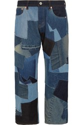Junya Watanabe Cropped Leather Trimmed Patchwork Boyfriend Jeans Blue