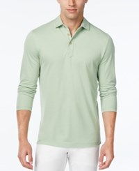 Tasso Elba Men's Performance Uv Protection Long Sleeve Polo Lime In Da Coco