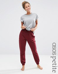 Asos Petite Lightweight Joggers With Contrast Tie Berry Red